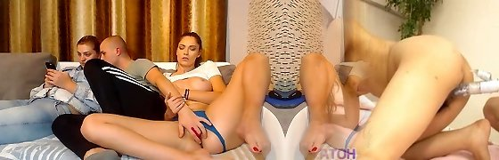 Brown-haired long legs rock hard boobs pussy fingered by sisters BF