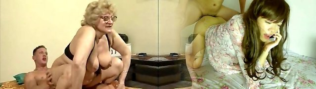 A blondie gran with glasses rides her hot young guy