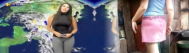 Glorious cameltoe on the Latina weather gal