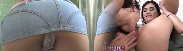 Brunette teen bathtub cleaning in jeans miniskirt upskirt panty shot shame ! 2