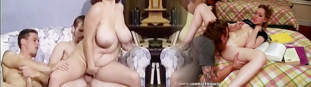 Buxomy Helena banged by two cock
