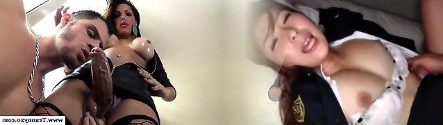 Trans pornstar Aline Diniz facialized dude