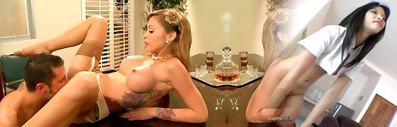 Horny tattooed ash-blonde Monique Alexander gives deepthroat sucky-sucky