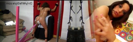 Hot wifey gets machine smashed from behind while standing trussed to wall