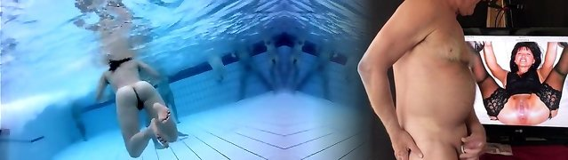 Naked studs and femmes in the pool filmed underwater
