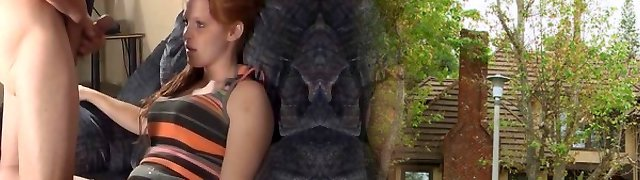 Cute redhead voyeur likes to watch
