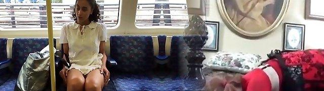 Daring Public Upskirt Displaying on a Train