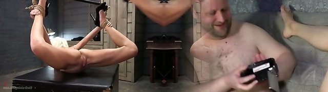 Tied up blonde Eliza Jane is fucked by one abnormal stud