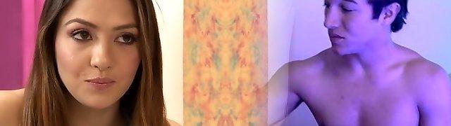 Exotic pornstars Cassie Laine and Aidra Fox in hottest asslicking, dark haired fuckfest scene