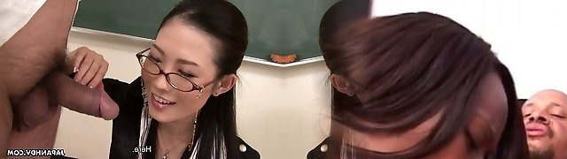 Hot Japanese teacher in glasses Yui Komine sucks rock hard spunk-pump of her coworker