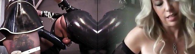 Hot mistress Latex strapon fuck slave