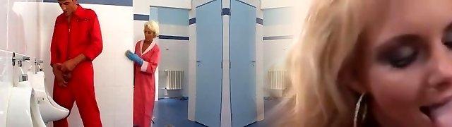 Mature romp in toilet
