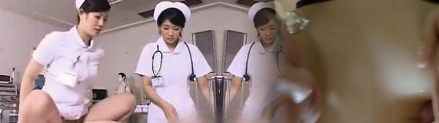 Super-naughty Oriental nurse works her hairy snatch on every inch of