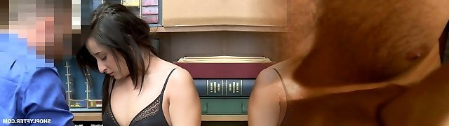 Arched over the working desk Isabella Uber-cute gets nailed from behind