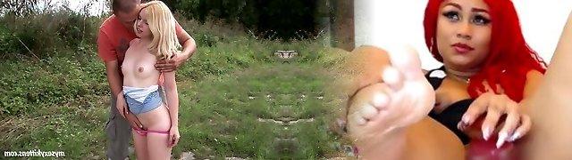 Petite blond girl Kala plumbs passionately in the garden