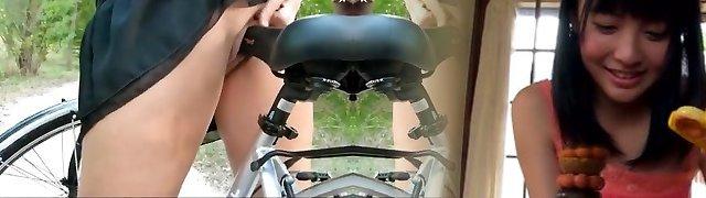 Public Bareness Bicycle Riding Babe