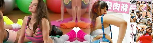 Fitness Guest Rooms Big bumpers girls double blowjob threesome with gym instructor
