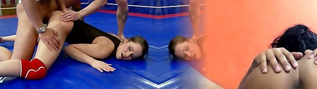 Sport damsel Ashley is fucked right in the ring after excellent blowjob