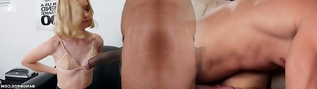 Pale and titless uber-cute blonde cowgirl is ready for some interracial sex