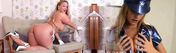 Big mammories blonde strips in retro lingerie masturbates in high heels