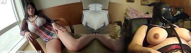 Busty asian posing in white bikini