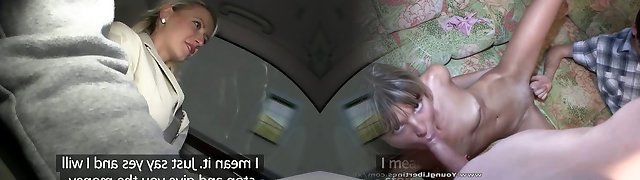 PublicAgent Big tits blond fucked in car