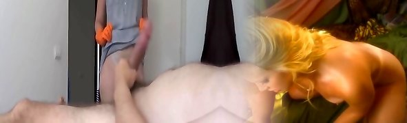 Showcasing to the cleaner and masturbation for money