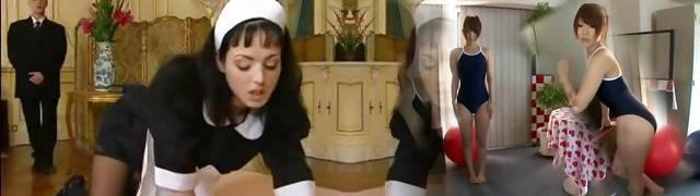 Brunette Euro maid does additional duty and blows boss and gets nailed