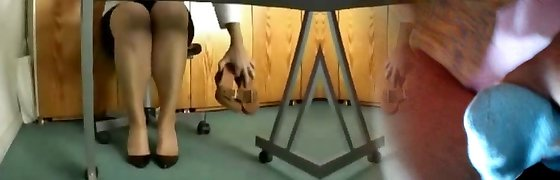 jizzing in co-workers high heels