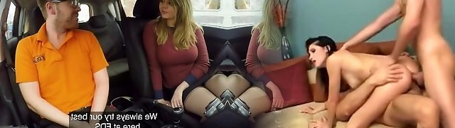 Faux Driving School 34F Boobs Bouncing in driving lesson