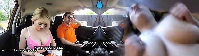 Buxom platinum-blonde made instructor cum in car