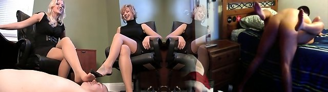 One guy worship the nylon feet of two secretarys
