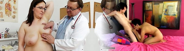 Crummy gross bitch Dorotha gets examined and pleased by spoiled doctor