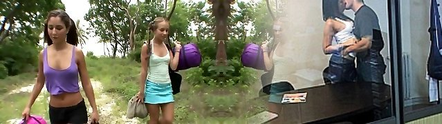 Two hot girlfriends have fuck-fest outdoors