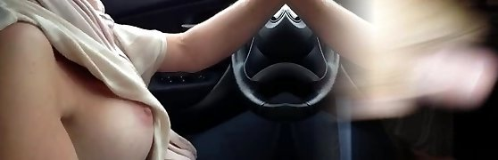 My slutty big-chested wifey loves to drive a car showing her knockers