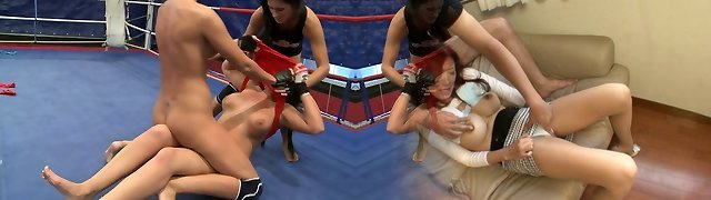 Emma Backside, Diana Stewart and Larissa Dee take douche together after grappling