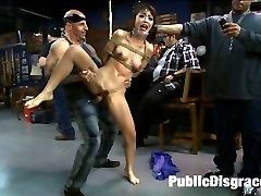 All dressed up as a little doll! Her skirt goes up and her tight holes get filled and fucked. Marica Hase is a popular rope bondage model in Japan. So cute and innocent looking as she walks into the scene of her first public gang bang led by Princess Donna. She is picked up and bounced around on huge cocks then face fucked until the public has their fill of humiliating this Japanese cutie-pie.