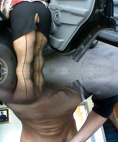 Busty mature, stilettos, seamed pantyhose & upskirt