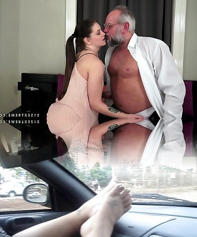 Angelina Brill plows an older gentleman