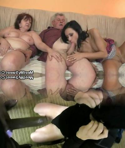 His girlfriend riding elder dad's penis!