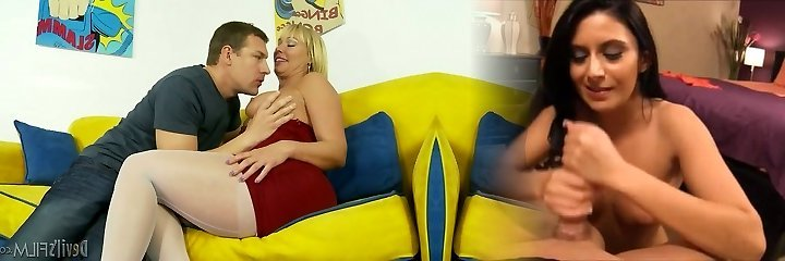 Red-hot ash-blonde mommy Mellanie Monroe in hot foreplay with horny guy Jerry