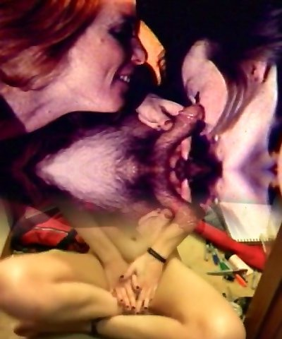 Vigorous fireside threesome