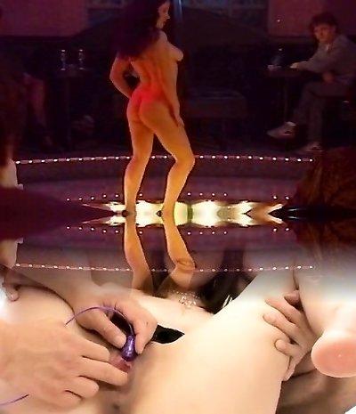 Lesbian striptease strapon sesh