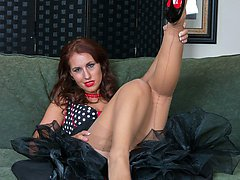 Raunchy brunette Jess strips down to her stunning retro underwear, vintage FF nylons, with fabulous high class designer heels!