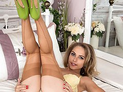 Chloe strips down to her real vintage sheer nylons and high heels!