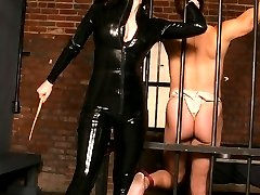Mistress Anastasia Pierce punishes her malesub partner with bondage and painful nipple torture