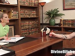 Mike Panic books an appointment with Maitresse Madeline Marlowe. She invites him to her office to have a frank discussion about anal sex. Mike lucks out because Madeline is on a spin that day and demands her ass be cleaned by his tongue then allows him to fuck her with a glass anal toy while he licks around he stretching hole. He is spanked for having his head in the gutter thinking all sorts of thoughts while his tongue laps up all her cum. Madeline uses her big black strap on and then her magical finger to milk his prostate until he erupts with cock juice. Madeline licks it all up then snowballs every drop back into her slaves mouth.