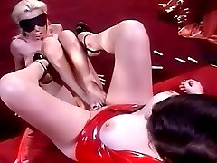 Blindfolded busty slave rubs her captors shaved pussy with her toes and soles