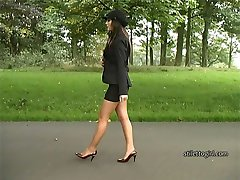 Gorgeous Faye wears the most elegant and beautiful looking high heel shoes and walks slowly in a...