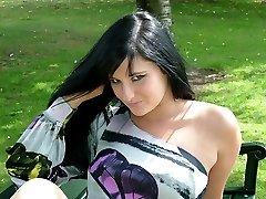Horny Nicola loves being outdoors in her high heels